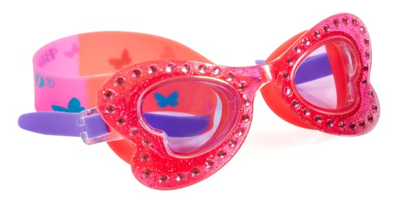 Girls coral pink butterfly shaped fun swimming goggles-0