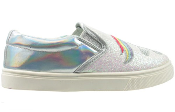 Girls shiny silver and pink glitter unicorn slip on skate shoes-5479