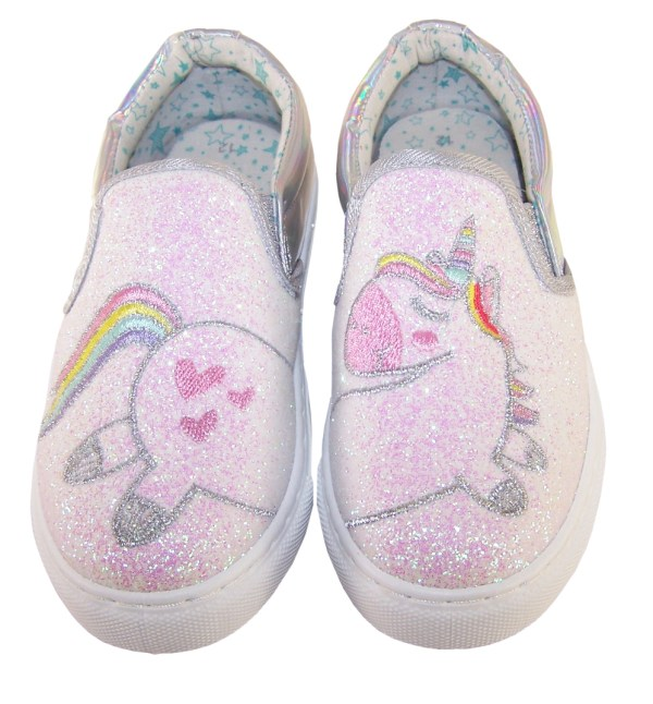 Girls shiny silver and pink glitter unicorn slip on skate shoes-5530