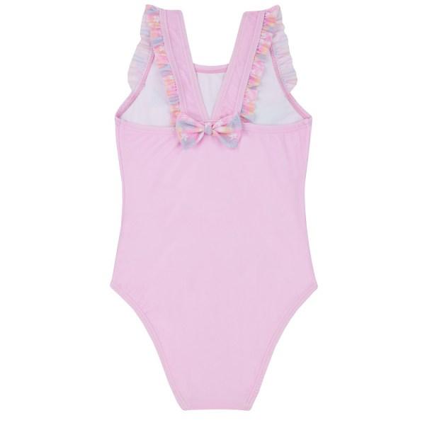 Girls pale pink flamingo swimming costume-5644