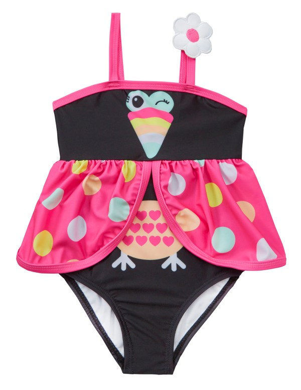 Girls black and pink novelty bird swimming costume-0