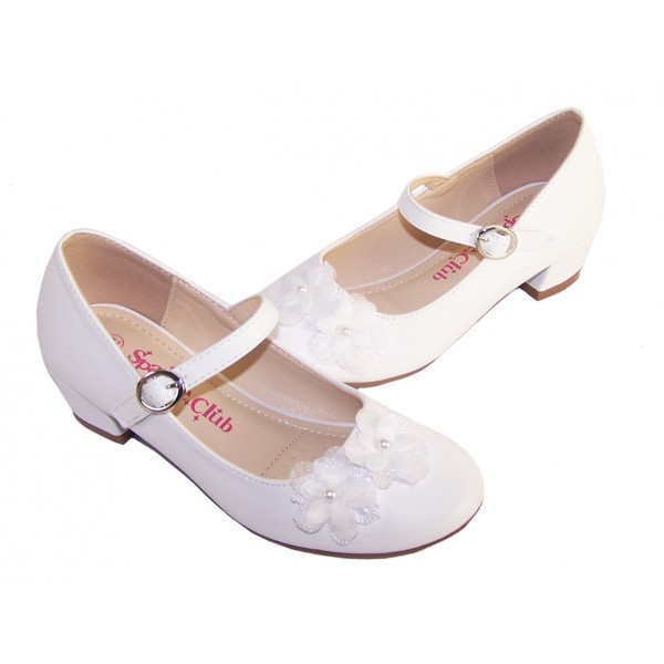 Girls white low heeled communion and party shoes with flower trim -6350