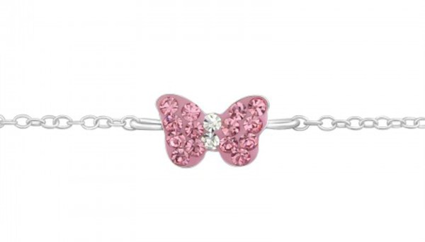 Girls 925 sterling silver bracelet with a pink butterfly-0
