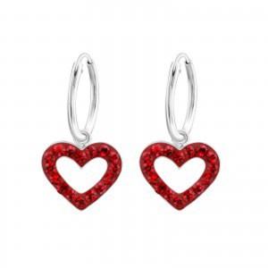 Girls red crystal heart hoop earrings