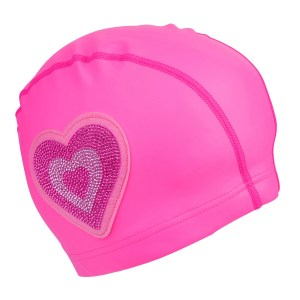 Girls neon pink silicone swimming cap