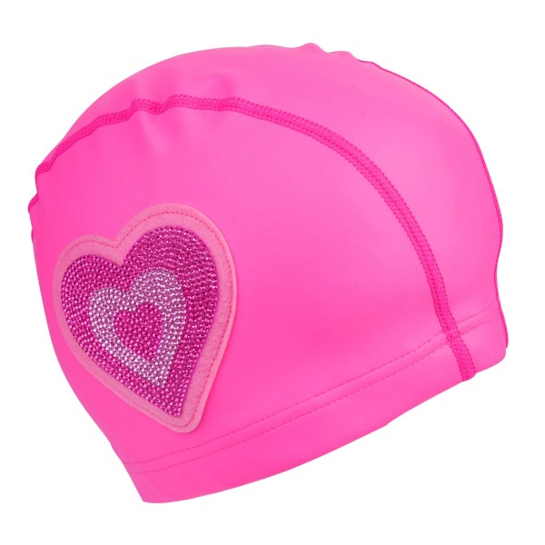Girls neon pink silicone swimming cap-0