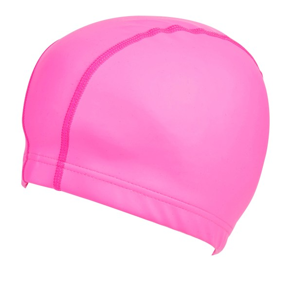 Girls neon pink silicone swimming cap-5640