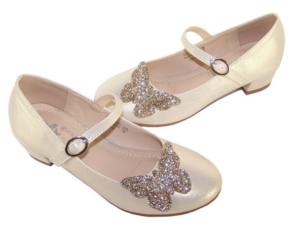 Girls pale gold heeled party shoes with glitter butterfly-5716