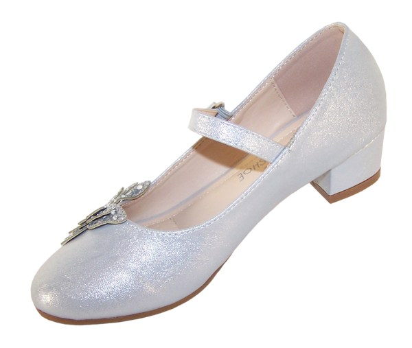 Girls silver heeled party shoes with glitter butterfly-5727