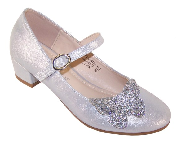 Girls silver heeled party shoes with glitter butterfly-0