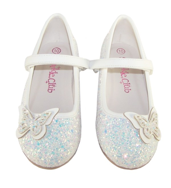 Girls white sparkly glitter ballerina party shoes with butterfly trim-5705