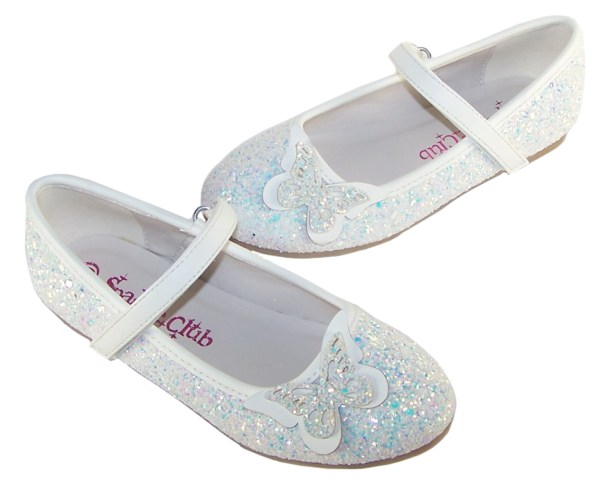 Girls white sparkly glitter ballerina party shoes with butterfly trim-5703