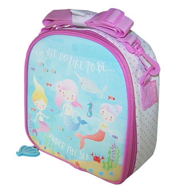 Girls pink and blue mermaid insulated lunch bag-5796