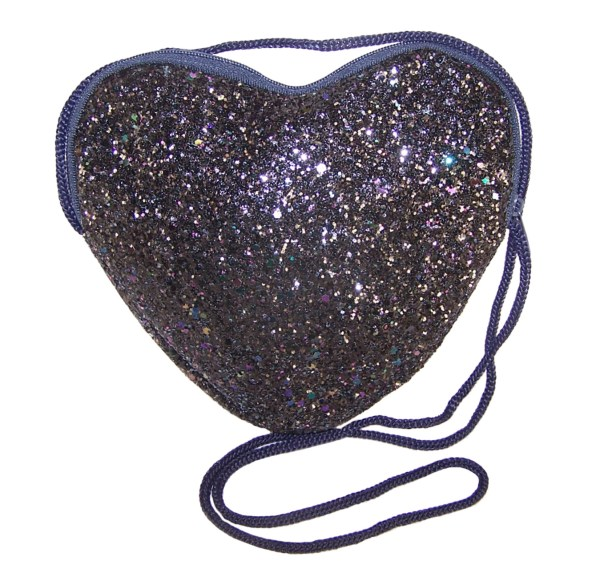 Girls dark blue glitter heart over body bag-0