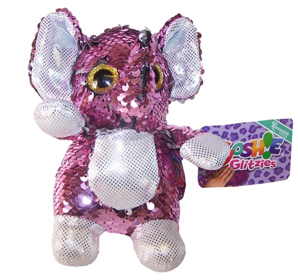 Elephant pink and silver sequin Goshie soft toy-0