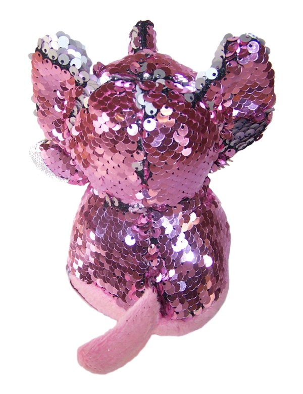 Elephant pink and silver sequin Goshie soft toy-5779
