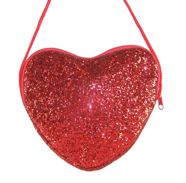 Girls red glitter heart over body bag-5821