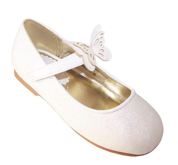Girls ivory sparkly flower girl ballerina shoes-0