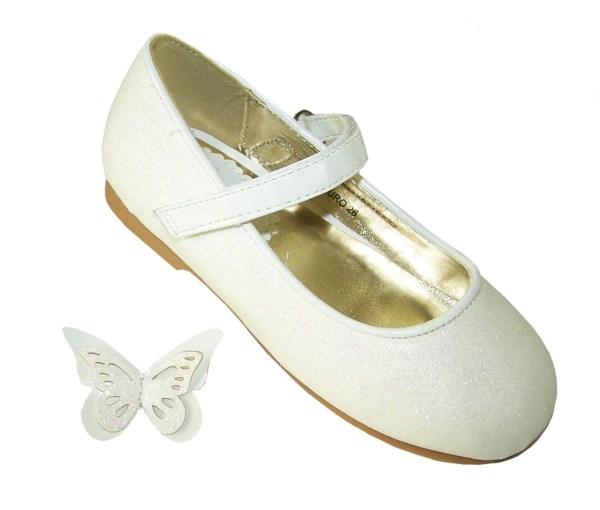 Girls ivory sparkly flower girl ballerina shoes-5810