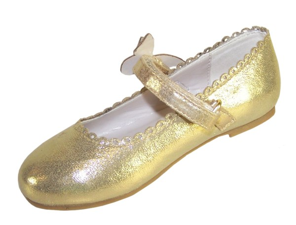 Girls gold shimmer ballerina party shoes-5848