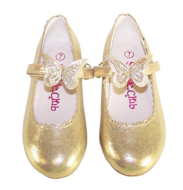 Girls gold shimmer ballerina party shoes-5847