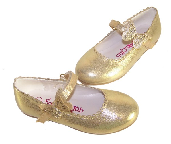 Girls gold shimmer ballerina party shoes-5845