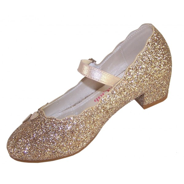 Girls gold sparkly heeled party shoes-6382