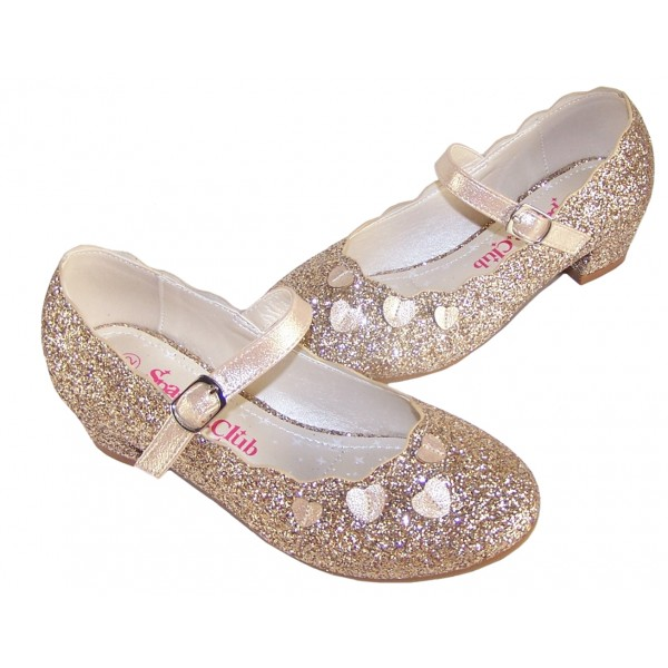 Girls gold sparkly heeled party shoes-6384