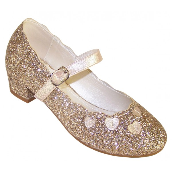 Girls gold sparkly heeled party shoes-0
