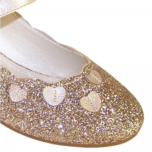 Girls gold sparkly heeled party shoes-6380