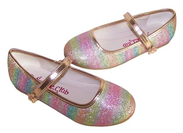 Girls sparkly rainbow coloured ballerina shoes -5866