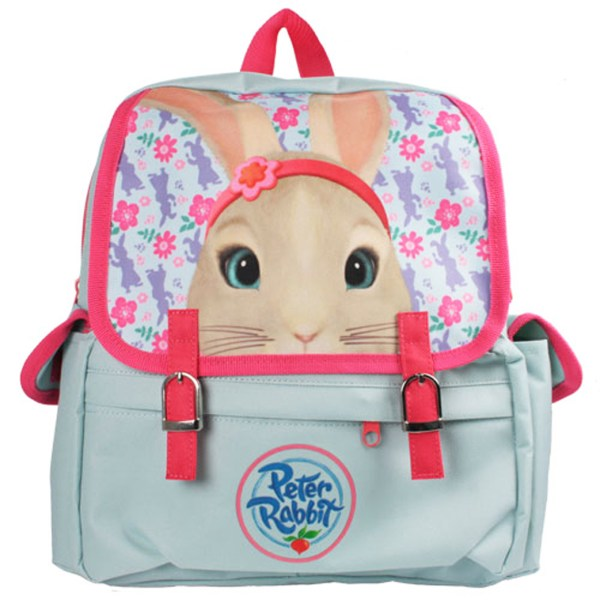 Childs Peter Rabbit Lily pale blue and pink satchel backpack -0