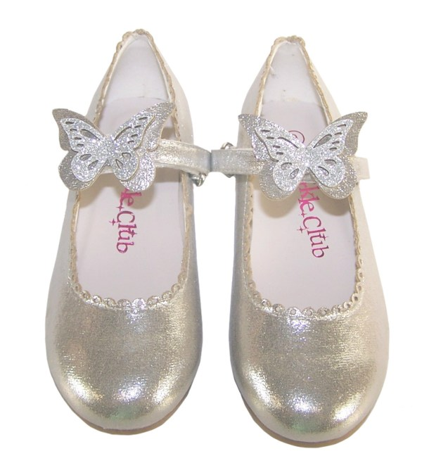 Girls silver shimmer ballerina party shoes-5861