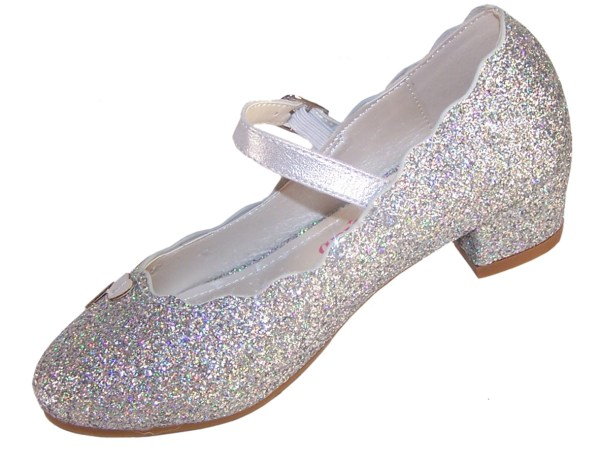 Girls silver sparkly heeled party shoes-5923
