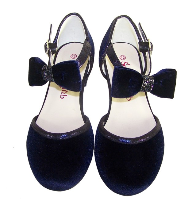 Girls dark blue velvet sparkly low heeled party shoes-5960