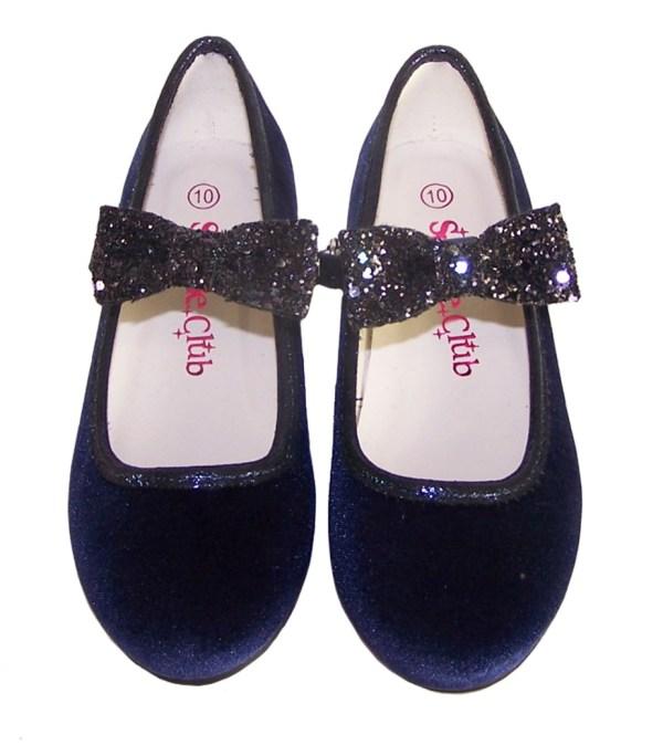 Girls dark blue sparkly velvet ballerina party shoes-5944