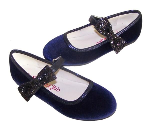 Girls dark blue velvet ballerina party shoes with matching glitter bag-5977