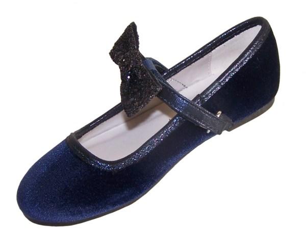 Girls dark blue velvet ballerina party shoes with matching glitter bag-5976