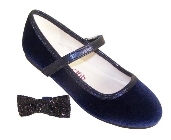 Girls dark blue sparkly velvet ballerina party shoes-5942