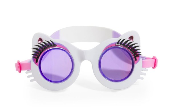 Girls fun cat shaped white swimming goggles with lashes-5930