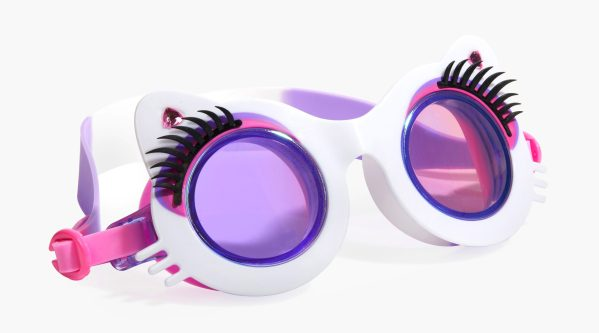 Girls fun cat shaped white swimming goggles with lashes-0