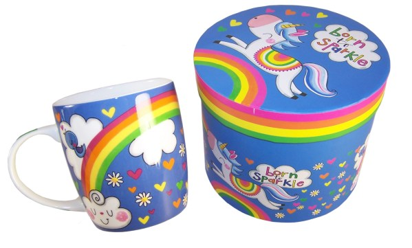 Unicorn colourful china mug in a gift box-6023