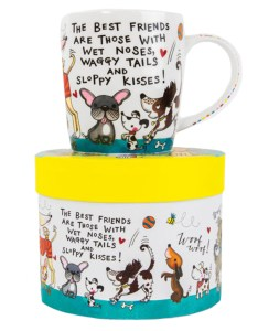 Dogs and puppies colourful china mug in a gift box