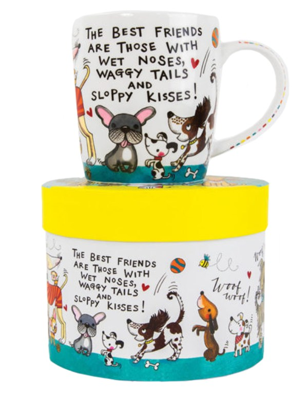 Dogs and puppies colourful china mug in a gift box-0