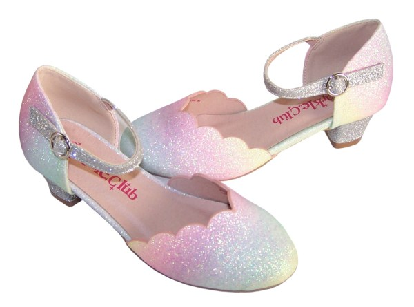 Girls pastel rainbow colours sparkly low heeled shoes -5990