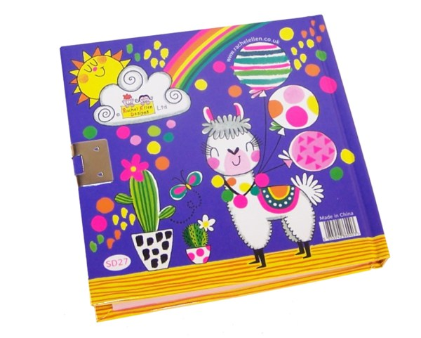 Girls lockable secret diary with a llama pattern-5995