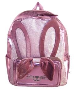 Girls pink PU and glitter bunny mini backpack