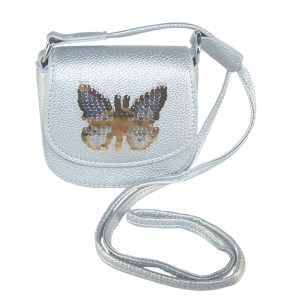Girls silver sparkly handbag with sequin butterfly
