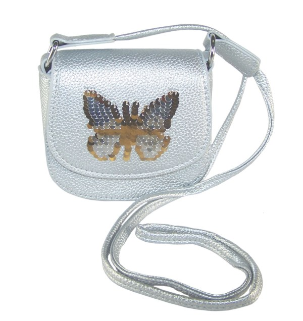 Girls silver sparkly handbag with sequin butterfly-0