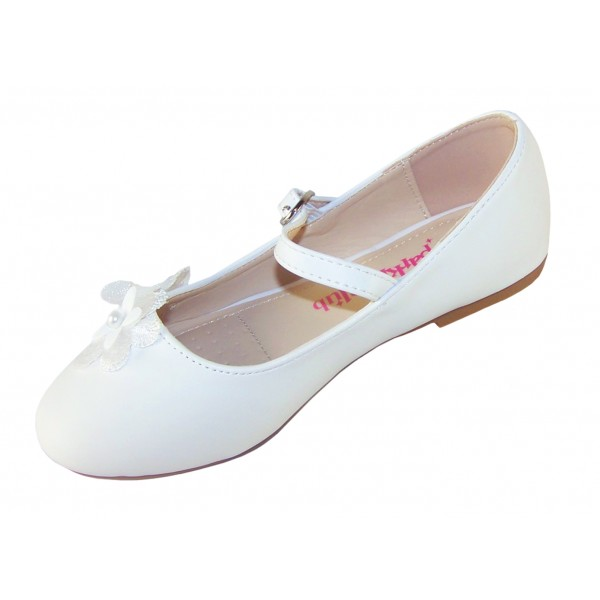 Girls white ballerina flower girl and bridesmaid shoes -6344